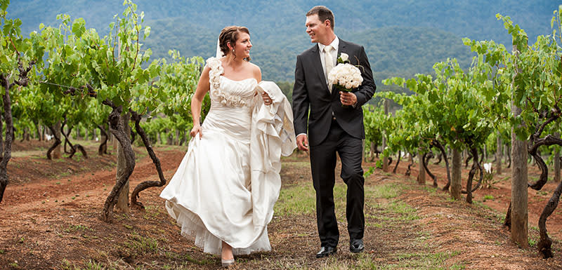 Cypress Lakes Resort Hunter Valley wedding outdoors bride and groom winery