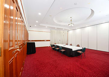 ballroom at oaks grand gladstone ready for conference