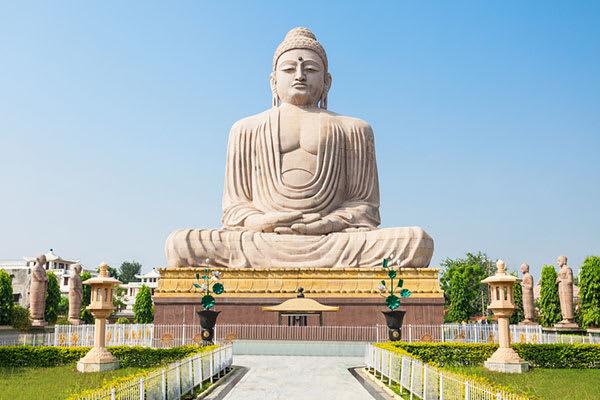 Buddha temple daytime Bodhgaya India