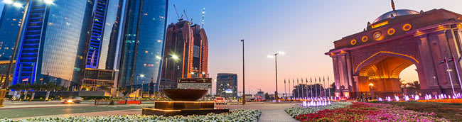 abu dhabi at susnet with flower gardens and temples