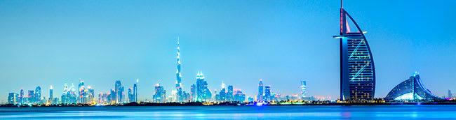 Dubai Oaks hotels and skyline at dusk